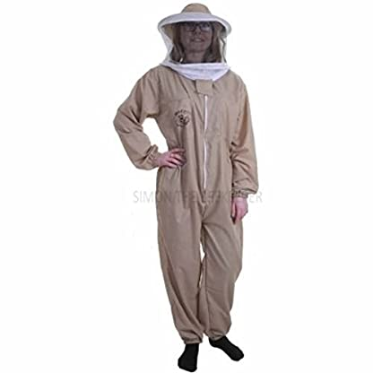 Buzz Basic Beekeeper's Bee Suit With Round Veil And Latex Gloves – Khaki (Medium) 2