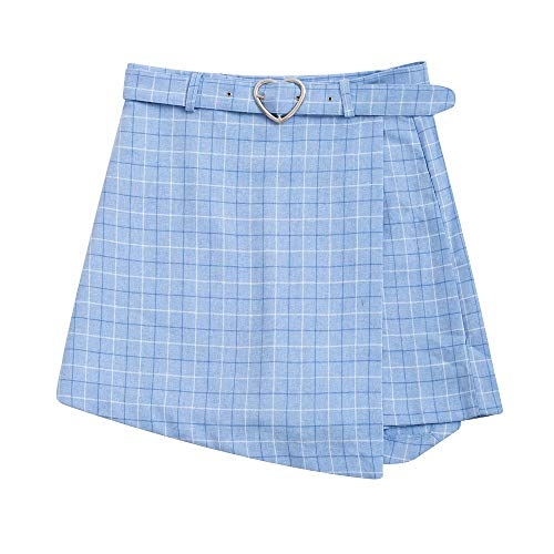 Sommer Neue Damen A-Linie Röcke Frauen Plaid Dünne Neue Korean Fashion Gürtel Über dem Knie Miniröcke Empire Shorts Röcke adrett,L