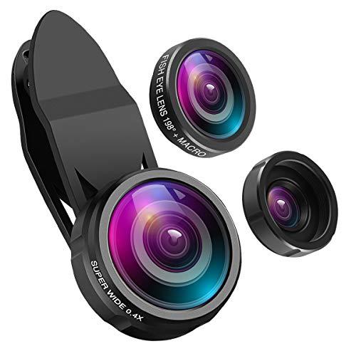 ORIA 【Upgrade Version】 3 in 1 Handy Objektiv Set, mit 198° Fisheye Objektiv + 0.4X Weitwinkel + 15X Makro Objektiv, Professionel Clip-on Kamera Adapter für iPhone, Samsung, Huawei, HTC, etc