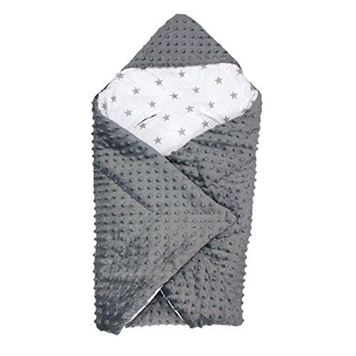 Baby Einschlagdecke für Babyschale Babydecke zum Einwickeln Wickeldecke Babyhörnchen Winter Warm , Farbe: Grau, Größe: ca. 75 x 75 cm