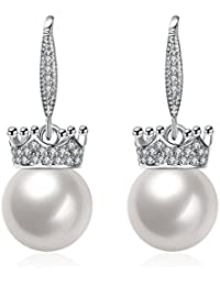 Yellow Chimes Crystal Studded Crown Fresh Water Pearl Silver Earrings for Women and Girls
