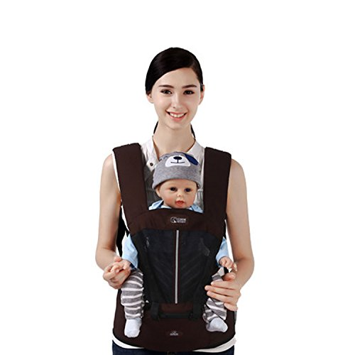 SONARIN Multifunctional Breathable Hipseat Baby Carrier,Front and Back,Breathable mesh Backing,Ergonomic,One Size Fits All,6 Carrying Positions,100% Infinity Guarantee,Ideal Gift(Brown)  SONARIN