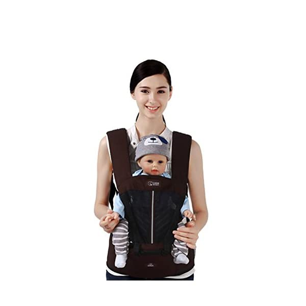 SONARIN Multifunctional Breathable Hipseat Baby Carrier,Front and Back,Breathable mesh Backing,Ergonomic,One Size Fits All,6 Carrying Positions,100% Infinity Guarantee,Ideal Gift(Brown) SONARIN Applicable age and Weight:0-36 months of baby, the maximum load: 20KG, and adjustable the waist size can be up to 44.9 inches (about 114cm). Material:designers choose comfortable and cool 100% cotton fabric. External use of 3D breathable mesh material, all-round breathable design, 15mm soft cushion, to the baby comfortable and safe experience. Side with small pockets so that you can put some daily necessities when you go outside. Description: EPP seat core, no deformation, baby sitting more comfortable.patented design of the auxiliary spine micro-C structure and leg opening design, natural M-type sitting. Widen the shoulder strap and belt will be effective to disperse the baby's weight to the shoulder and waist, so that mother more effort. 3