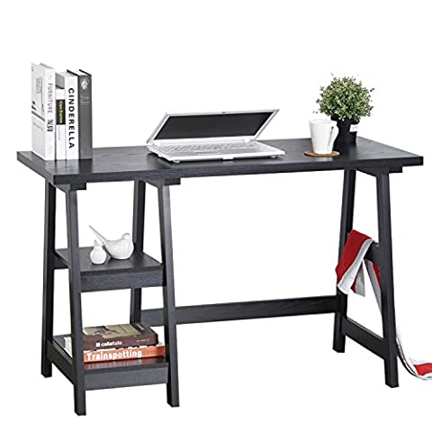 Aingoo Home Office Table Computer Workstation Wooden Writing Desk with Storage Shelves, Black