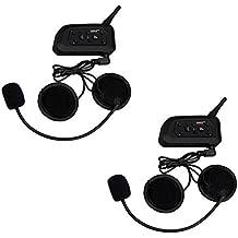 2 x Ejeas V6 Pro Auriculares Intercomunicador Bluetooth para Motocicletas, Gama Comunicación Intercom de 1200m, Comunicador Auricular para Casco, IPX5 Impermeabilidad, Intercomunicacion entre 6 motociclistas