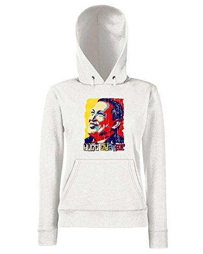 T-Shirtshock - Sweats a capuche Femme T0451 Hugo Chavez politica Blanc