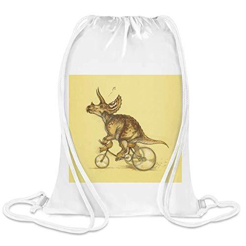(Dinosaurier auf Fahrrad - Dinosaur On Bike Custom Printed Drawstring Sack | 100% Soft Polyester| 5 Liter Capacity| Adjustable String Closure| The Stylish Bag For Every Day Use| Custom Bags By Frauen)