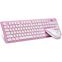 SEARCHALL 2.4G Wireless Keyboard and Mouse Combo Full Size Quite Click Slim Design US Layout with Nano USB Receiver and Protective Cover (Pink)