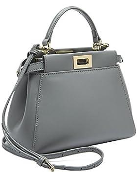 semen Damen Kelly Tasche Echtes Leder Henkeltasche Vorhängeschloss Handtasche Umhängetasche Vintage Schultertasche
