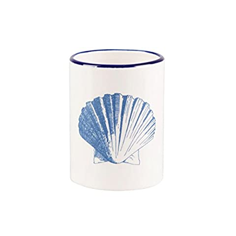 Sass & Belle Nautical Vintage Sea Collection Seashell Blue & White Ceramic Toothbrush Holder
