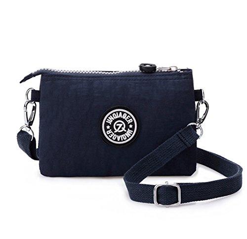 Tiny Chou, borsa a tracolla da donna, in nylon, impermeabile, con tre zip, Blu (Navy blue), S