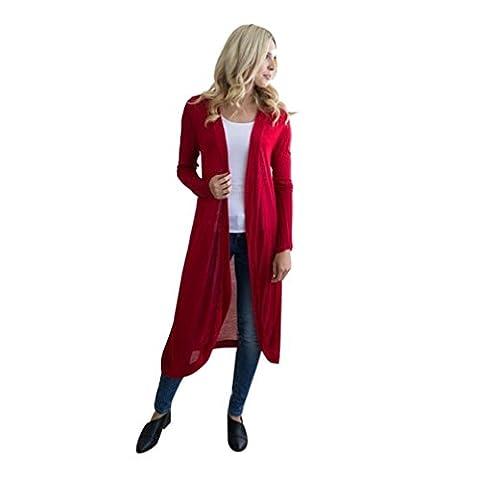 Femme Chemisier, Feixiang personnalisation Exclusive pour femme confortable à manches longues Cardigan ouvert Floaty Caftan Veste Manteau pour chien Chemisier, plastique, Red,
