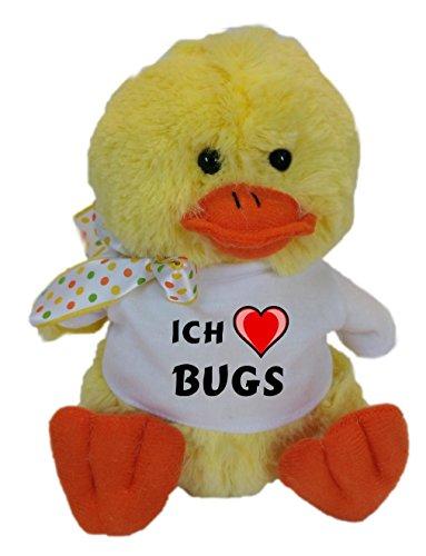 SHOPZEUS Plüsch Hühnchen mit T-shirt mit Aufschrift Ich liebe Bugs (Vorname/Zuname/Spitzname) - Bug Gelben T-shirt