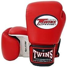 Twins Special–Guantes de boxeo de velcro piel de vacuno Piel Marrón 16onzas)