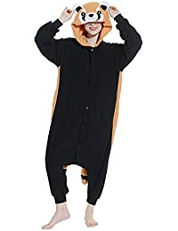 Unisex Animal Pijama Ropa de Dormir Cosplay Kigurumi Onesie Panda Rojo Disfraz para Adulto Entre 1
