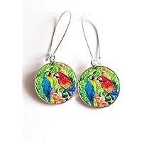 Ohrringe cabochon Paar Papageis in Dschungel, das tropisch ist