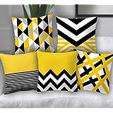 SB Interio Cotton 200TC Cushion Cover, Standard, Yellow , Set of 5