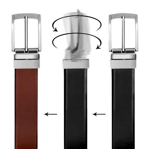 Cinturón Casual Formal VALERIO Reversible en Blanco y Negro para Hombres (DOS EN UNO) de Genuino Completo Cuero Natural con Hebilla Giratoria (95 cm / 34 Inches)