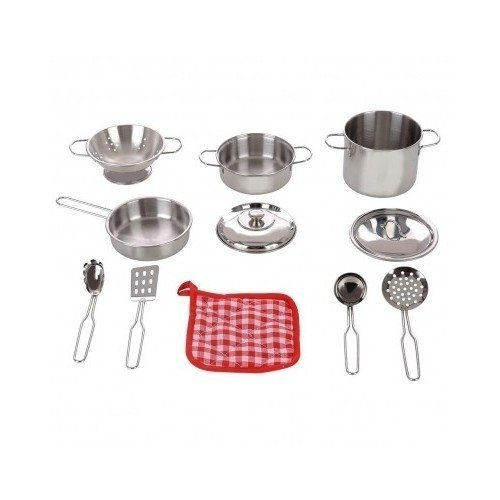 stainless-steel-cookware-11-pc-playset-pots-pans-colander-strainer-utensils-oven-mitt-by-play-right