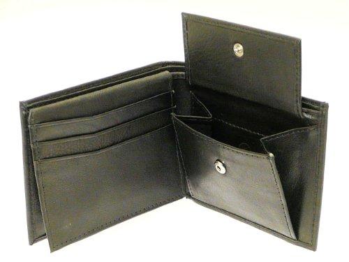 Herren-Superweiche Schwarzes Leder Wallet - Hält 6 Kreditkarten, ID-Card ein, Münzen & Notizen (Id Wallet Zubehör)