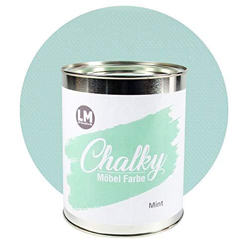 LM-Kreativ Chalky Möbelfarbe deckend 1 Liter / 1,35 kg (Mint), matt finish In- & Outdoor Kreide-Farbe für Shabby-Chic, Vintage, Landhaus Stil
