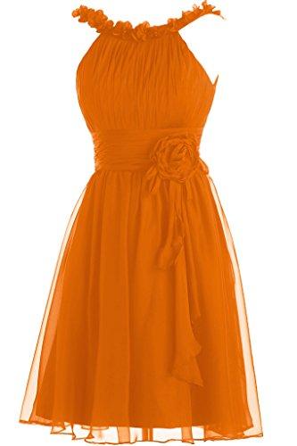 Toscane mariée sweetheart ladiesfashion 2–support abendkleider courte en mousseline de cocktail partykleider demoiselle dhonneur Orange - Orange