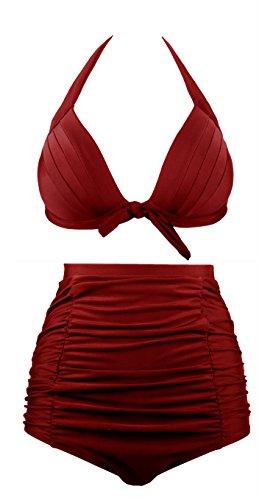 Angerella Vintage Bademode mit Faltenwurf Hohe Taille Bikini Set (EU 38-40=Tag Size XL, Wein Rot)