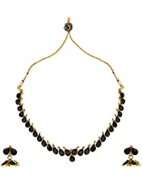 Dancing Girl 1 Gram Gold Jewellery Black Copper Alloy Necklace Sets Jewellery Sets For Women
