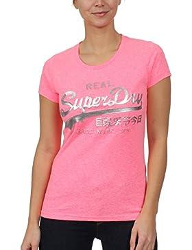 Superdry Vintage Logo en relieve lámina Camiseta, Fluro Rosa