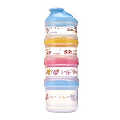 Fenteer Milchpulver Spender und Snack Behälter (BPA-Frei), Baby Formula Dispenser/Milk Powder Container/Storage / Pot - 4 Compartment - Blau - Powder Formula Dispenser
