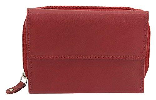 Friedrich|23 echt Leder Damen Geldbörse Portemonnaie RFID NFC Schutz Blocker Datensafe Nappaleder rot (Damen-geldbörse High-end)