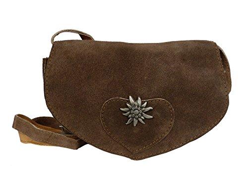 Umhängetasche- Trachtentasche fürs Dirndl - Echt Leder - Wildleder Tasche (20x15x6 cm) (Braun)