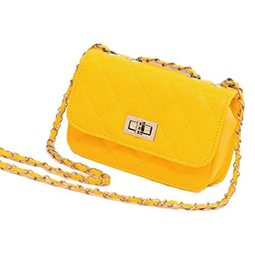 Gesteppte Handtasche Kunstleder Vintage Stil Abend Tasche Gelb