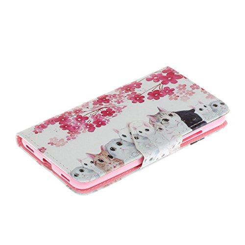 Honor 5C Hülle,Honor 5C Case, Honor 5C Tasche Cozy Hut Handy Tasche Schutz Hülle im Bookstyle für Huawei Honor 5C Wallet Case mit Standfunktion Schutzhülle mit Standfunktion Kartenfächer mit Weich TPU Kätzchen