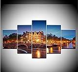 dsfytrew Sin Marco 5 Piezas Edificio De Amsterdam Moderno 5 Unidades Wallpapers Moderno Modular Arte del Arte Pintura De La Lona para La Sala De Estar Decoración para El Hogar