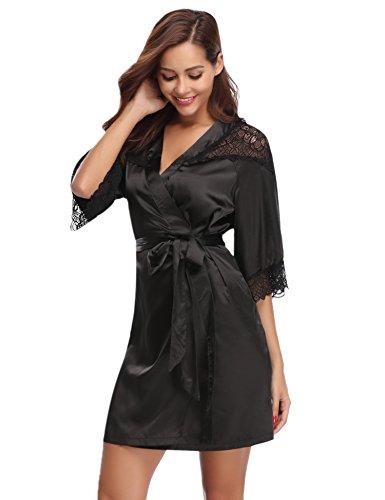 Damen Einfarbige Spitze Satin Kimono Morgenmantel Kurz Robe Nachtwäsche Sleepwear V Ausschnitt mit Gürtel Schwarz M (Satin-kimono-robe Kurzen)