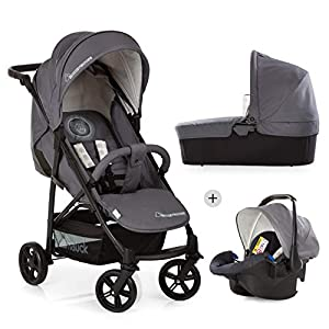 Hauck Rapid 4 X Plus Trio Set, 3-in-1 Travel System from Birth Up To 25 kg, Infant Car Seat Group 0, Carrycot and Buggy, One Hand Fold, Height-Adjustable Push Handle, Lying Position, Mickey Cool Vibes   3