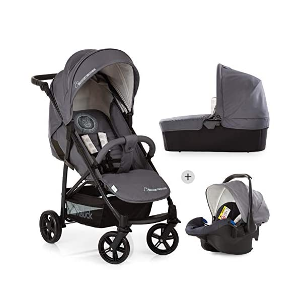 Hauck Rapid 4 X Plus Trio Set, 3-in-1 Travel System from Birth Up To 25 kg, Infant Car Seat Group 0, Carrycot and Buggy, One Hand Fold, Height-Adjustable Push Handle, Lying Position, Mickey Cool Vibes  3 in 1 stroller set. includes pushchair, carry cot and group 0+ car seat. Rapid fold system. the one hand fold system makes this pushchair ideal for shopping trips, and it folds small enough to fit in most car boot Optional isofix base.  the group 0+ car seat is compatible with the hauck comfort fix car seat base. 1