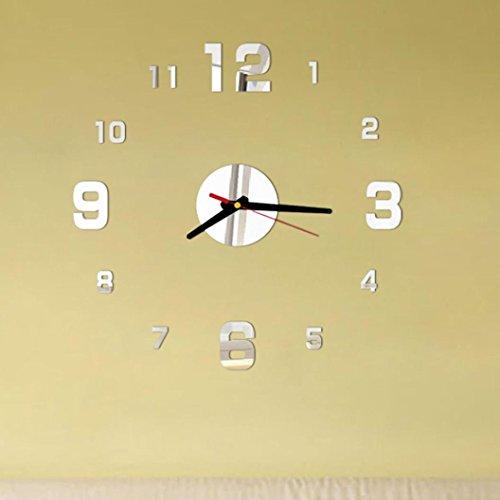 Zarupeng DIY Wanduhr, Mode Acryl 3D Analoge Wanduhr, Selbstklebende Innenwand Kreative Dekoration Digitale Uhr Home Dekorationen Geschenk (One Size, Silber)