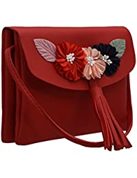 TAP FASHION Fancy Stylish Party Wear Women's Sling Bag With Flower For Ladies And Girls