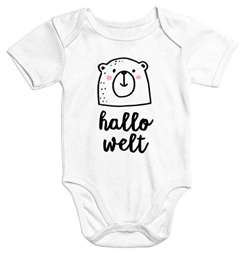 MoonWorks Kurzarm Baby-Body Hallo Welt Bär Hello World Bear Einteiler Bio-Baumwolle Weiß 0-3 Monate