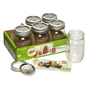 BALL MASON JARS Preserving Homemade Jam Wide Mouth Gift Jars, Transparent, 490 ml, Pack of 6