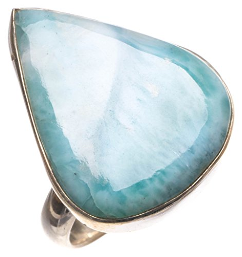 Karibik Larimar handgefertigt Indian 925 Sterling Silber Ring, UK Größe R 1/2 (Cute Billig Kostüme Ideen)