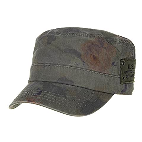WITHMOONS Militaire Casquette de Baseball Cadet Cap Floral Camouflage US Army Patch Military Hat CR4468 (Green)