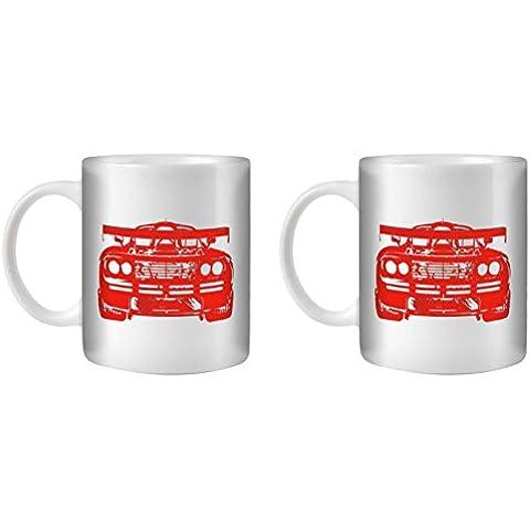 STUFF4 Taza de Café/Té 350ml/2 Pack Rojo/F1 GTR/Cerámica Blanca/ST10