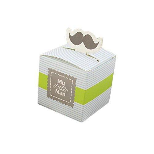 Yalulu 50 Stück My Little Man Gastgeschenke Taufe Baby-Süßigkeit Baby Candy Box Candy Flaschen Geschenk Box Baby-Dusche-Bevorzugungen Taufe Geschenk (Blau)