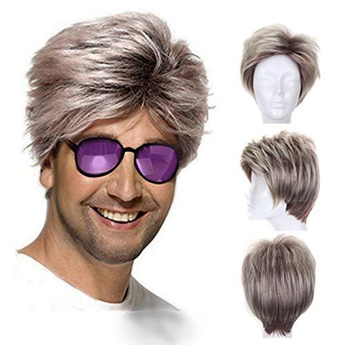 Ansenesna Perücke Herren Blond Kurz Wig Mann Kurzhaar Perücken (Blond) (Bart Kurze Blonde)
