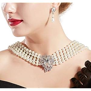ArtiDeco 1920s Halskette Damen Imitation Perlen Kette Retro 20er Jahre Gatsby Damen Halskette mit Kristall Blume Brosche und Perlen Ohrringe