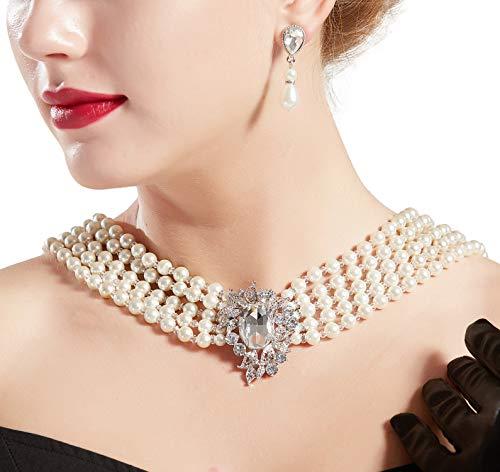 ArtiDeco 1920s Halskette Damen Imitation Perlen Kette Retro 20er Jahre Gatsby Damen Halskette mit Kristall Blume Brosche und Perlen Ohrringe (Stil 2)
