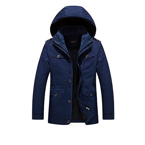 Zhhlinyuan Manteaux Men's Winter Detachable Hooded Faux Fur Lined Warm Coats Outerwear blue